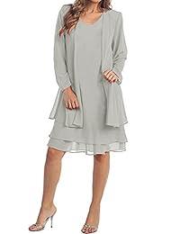 Pretygirl Womens O Neck Chiffon Mother of The Bride Dress Formal Evening Church