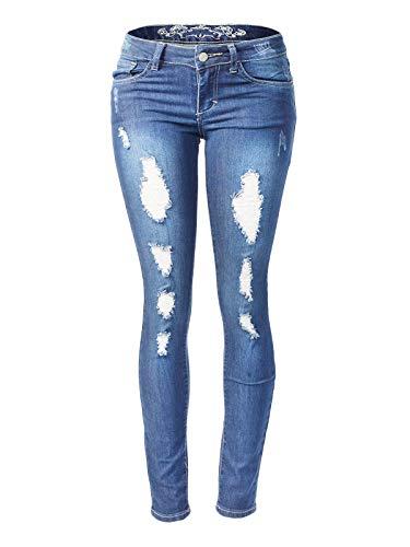 Instar Mode Women's Juniors Mid-Rise Slashed Destruction Skinny Jegging Jeans Medium Denim ()