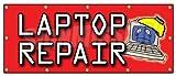 "48""x120"" LAPTOP REPAIR BANNER SIGN computers virus maintenance software install"