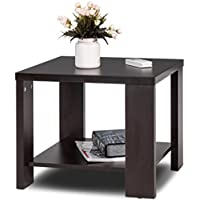 Tangkula End Table Modern Solid Wood Square Living Room Furniture w\Storage Shelf Mini Coffee Table