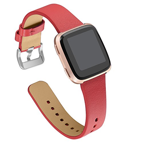 bayite leather bands for Fitbit Versa, Slim Genuine Leather Strap Replacement Accessories Fitness Classic Wristband for Versa Bands Women Men, - Leather Red Ladies