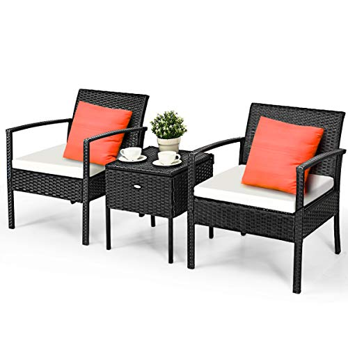 Tangkula 3 Piece Patio Conversation Set, Outdoor Wicker Rattan Conversation Set with Storage Coffee Table, Chairs & Thick Cushions, Backyard Porch Poolside Lawn Modern Outdoor Furniture Set, Black