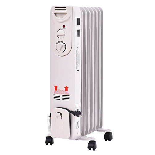 1500W Electric Oil Filled Radiator Space Heater 5-Fin Thermostat Room Radiant US Ship (Jet Protection Liquid)