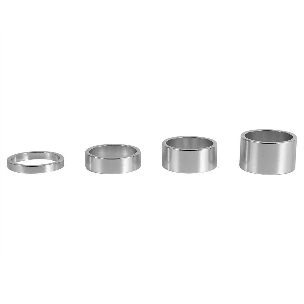 Dilwe Bicycle Fork Washer, 4 Colors 4Pcs/Set 5mm/10mm/15mm/20mm Aluminum Alloy Bike Front Stem Headset Spacer(Silver) by Dilwe