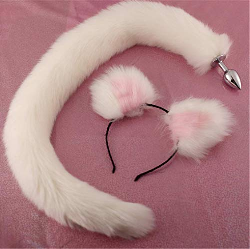 Make life wonderful Long White Three Sizes Fluffy Faux Fox Tail & Cat Ears Headband Charms Role Play Costume Party Masquerade Cosplay Prop (White & Pink, M) -