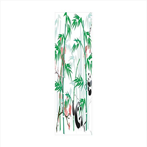 - Decorative Window Film,No Glue Frosted Privacy Film,Stained Glass Door Film,Giant Woody Grass Bamboos and Panda Bear in Chinese Tropics Artsy Print,for Home & Office,23.6In. by 78.7In Pink Green White