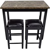 Pearington 36H X 42W 3 Piece Tavern/Counter Height Table with Faux Marble Top, Espresso Finish