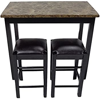 "Pearington 36""H X 42""W 3 Piece Tavern/Counter Height Table with Faux Marble Top, Espresso Finish"