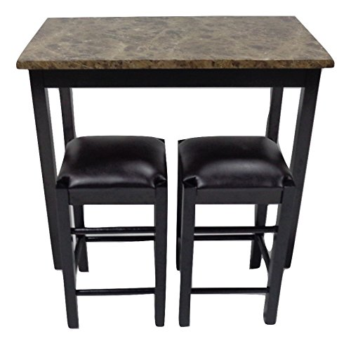 Counter Tables And Stools: 3Pc Tavern Counter Height Table Stools Faux Marble Top