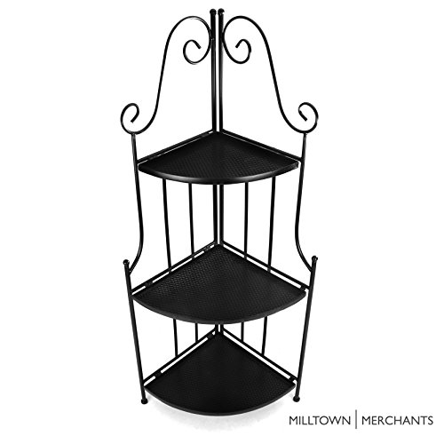 Milltown Merchants™ Indoor/Outdoor Corner Shelf - Iron Corner Plant Stand - Black Metal Plant Stand with Decorative Curved Scrollwork - Folding Corner Rack (Corner Stand, (Folding Corner)