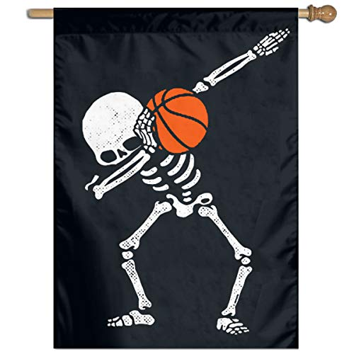 Halloween Make Skelett (Kaloloa 'Halloween-Tupfen-Skelett Basketball Garden Flag Banner for House Yard Decoration Family Flag)