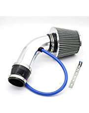 RASNONE Performance Cold Air Intake Pipe, Universal Car Cold Air Intake Filter Aluminum Induction Flow Hose Pipe Kit Silver