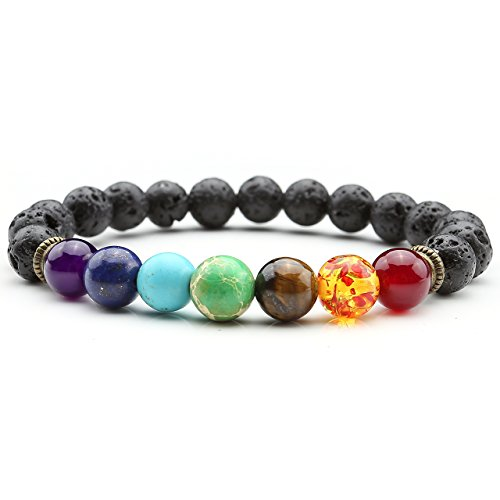 Top Plaza Men,Women 8mm Lava Rock Beads 7 Chakra Bracelet Black Healing Energy Stone Gemstone Bracelet(Lava Stone Chakra Diffuser Bracelet)