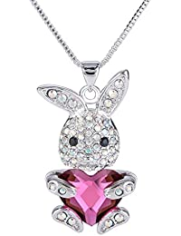 Women's Silver-tone Bunny Heart Pendant Necklace Adorned with Swarovski Crystals