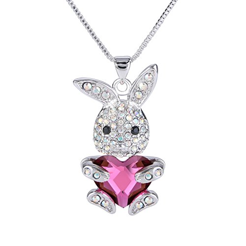 [EleQueen Women's Silver-tone Bunny Heart Pendant Necklace Pink Adorned with Swarovski Crystals] (Cute Costumes For Couples)