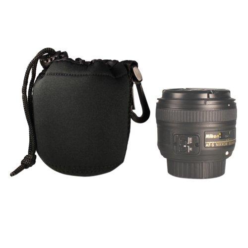Foto&Tech DSLR camera Drawstring Soft Neoprene Lens Pouch Bag Cover for Canon Nikon Sony Panasonic Fujifilm Olympus Pentax Sigma DSLR/SLR/EVIL Camera (Drawstring Lens Pouch)