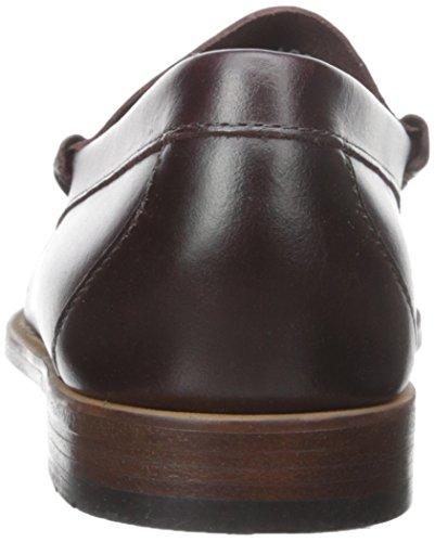 Gh Bas & Co. Mens Larson Öre Loafer Vinröd Pull-up Läder