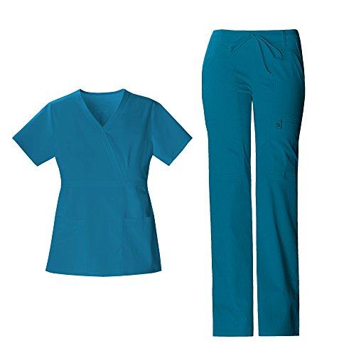 Yoke Pintuck - Cherokee Luxe Women's Crossover V-Neck Pin-Tuck Top 1999 & Women's Drawstring Cargo Pant 21100 Scrub Set (Caribbean Blue - Medium/Medium)