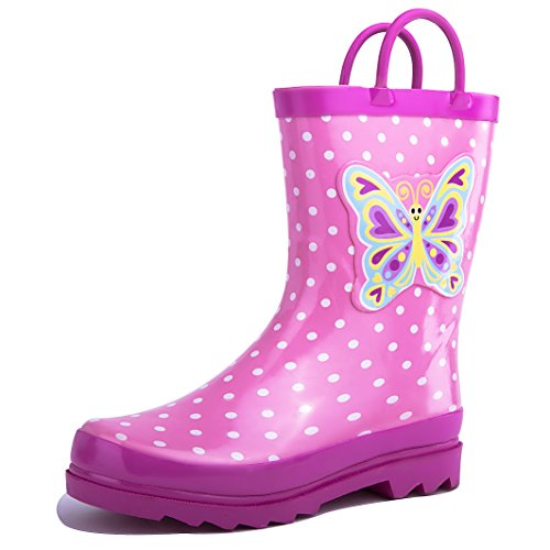 Girls Pink Butterfly Polka-Dot Rain Boots (1 M US Little (Pink And White Cowboy Boots)