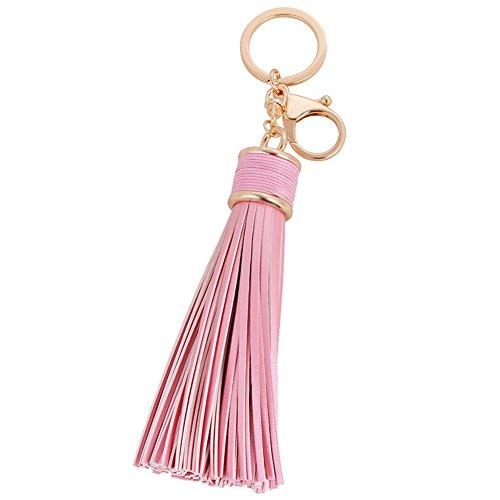 (Sunvy Womens's Leather Tassel Charm Women Handbag Wallet Accessories Key Rings Genuine Leather Cowhide Tassel (Pink))