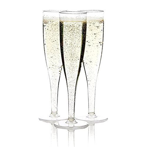 Clear Plastic Classicware Glass Like Champagne Wedding Parties Toasting Flutes (Silver)