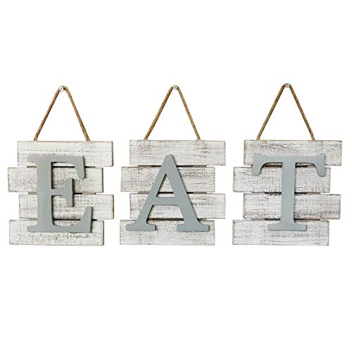 Barnyard Designs Eat Sign Wall Decor for Kitchen and Home, Distressed White, Rustic Farmhouse Country Decorative Wall Art 24