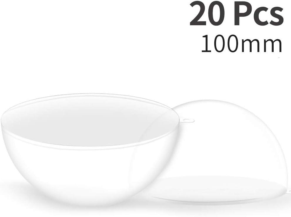 himaly 20 pcs 10cm Bolas de Navidad Transparente de Plástico Acrílico Rellenable 100mm Bolas Navidad Plástico Transparente para Llenado de Decoraciones de Árboles de Navidad Bodas Bautismo