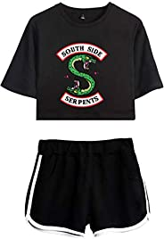 OLIPHEE Girls 2Pcs Outfit Pyjama Sets Crop Tops+Shorts Suit Inspired Riverdale South Side Serpent