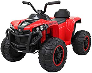 JAXPETY 6V Kids Ride on ATV, Battery Powered Electric 4 Wheels Quad with Headlights, MP3 Player, Story, Red
