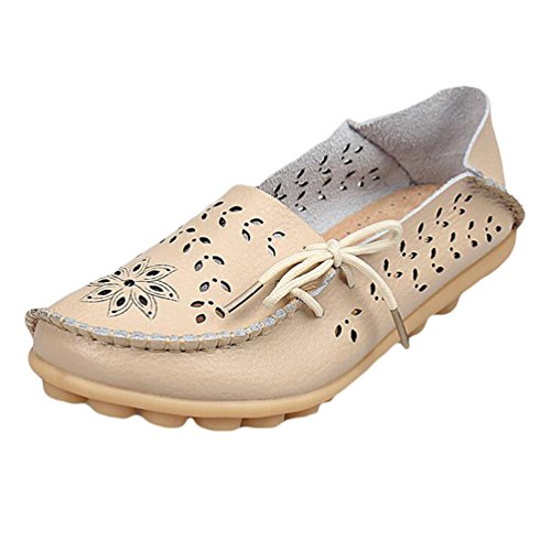 Heheja Mujer Hueco Ocio Piso Zapatos Mocasines de Cuero Loafers con Bowknot Beige