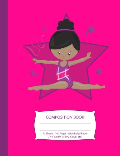 "Search : Composition Book: Black Hair African American Gymnast - Hot Pink w/ Purple Stars - Wide Ruled - 140 Pages (70 Sheets) - 7.44"" x 9.69"" - Blank Lined - ... Teen Girls (Little Gymnast Series) (Volume 1)"