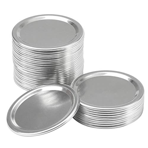 Resinta 36 Pack Regular Mouth Mason Jar Split-Type Lids Silicone Seals Leak Proof Secure Mason Storage Solid Caps (Not Include Band) (Sliver, Regular Mouth)