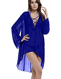 Myosotis510 Sexy Perspective Long Sleeve Bandage V-neck Beach Dresses Cover Up