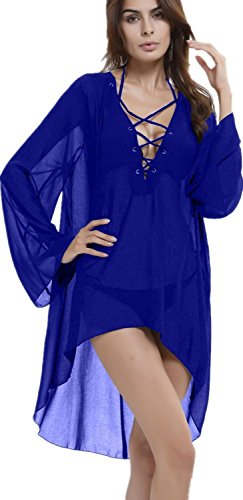Myosotis510 Beach Club Sexy Perspective Skirt Long Sleeve Bandage V-neck Dresses,Blue OS (Blue Dress Ups)