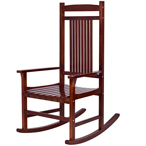 n-bright shop Rocking Chair Rocker Solid Wood Porch Indoor Outdoor Patio Backyard Furniture