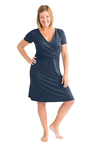 Kindred Bravely The Angelina Ultra Soft Maternity & Nursing Nightgown Dress (Navy Blue, (Nursing Womens Nightgown)