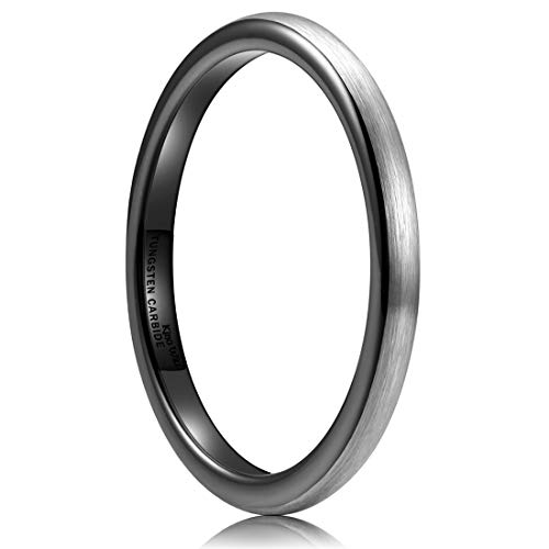 King Will Basic Men 2mm Black Tungsten Carbide Ring Wedding Band Domed Brushed Finish 12 ()