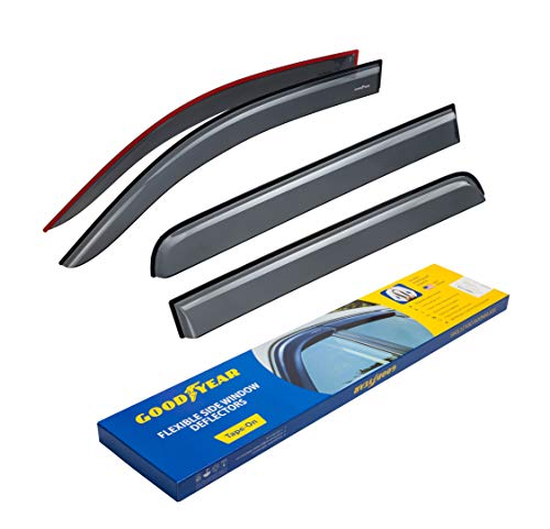Goodyear Shatterproof Side Window Deflectors for Trucks Chevrolet (Chevy) Silverado/GMC Sierra 2014-2018 Crew Cab, Tape-on Rain Guards, Vent Window Visors, 4 Pieces - GY003103