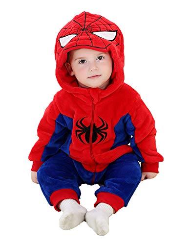 D.B.PRINCE Unisex Baby Flannel Onesie Hooded Animal Cosplay Pajamas Cartoon Outfit Homewear (18-23 Months, Spiderman) (Man Spider Flannel)