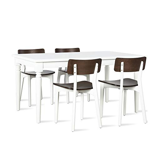 Novogratz DA8054SET Varick 5 Piece Dining Set, White