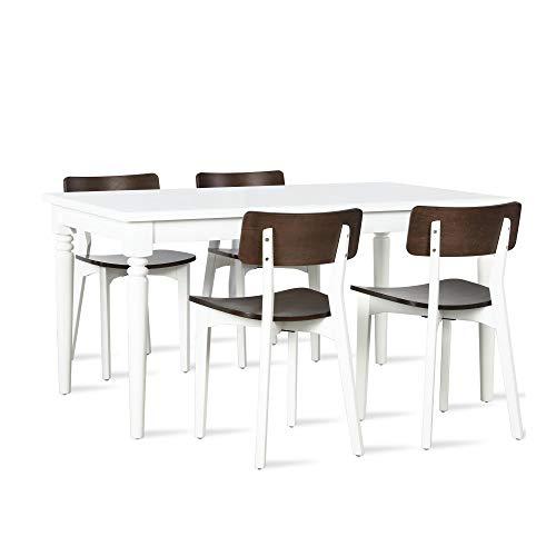 Novogratz Varick 5 Piece Dining Set, White