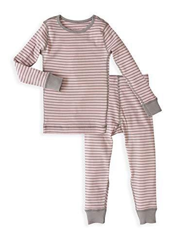 Girl's Kids Long Sleeve Pajama Set - 100% Soft Organic Turkish Cotton- Pink Grey Stripes for Sizes 7