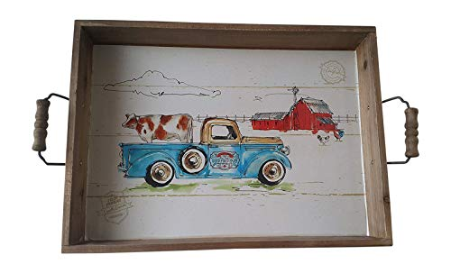 Blue Truck Rustic Wooden Tray Farmhouse Kitchen Serving Ottoman Featuring a Farm Truck Cow Farmyard Animals