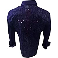 Men's House of Lords Tribal Cross Embroidery With Metal Stones Western Long Sleeve Button Down Shirt Purple 1154