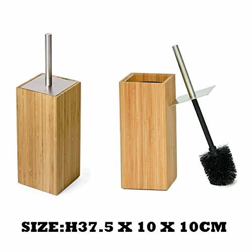 Luxury Bamboo Wood Toilet Brush & Holder Set Bathroom Cleaning Accessory OPTIMAL PRODUCTS