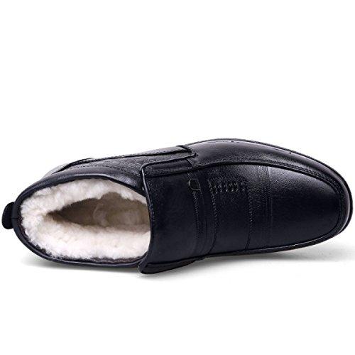 Los Moda Invierno Padre De Botas Cachemira Algodón Black Zapatos Hombres Zapatos Los De LINYI Cuero De Más Cálida De Los Nueva De Hombres PxwxdqA4