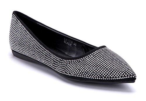 Schuhtempel24 Damen Schuhe Klassische Ballerinas Flach Ziersteine Schwarz