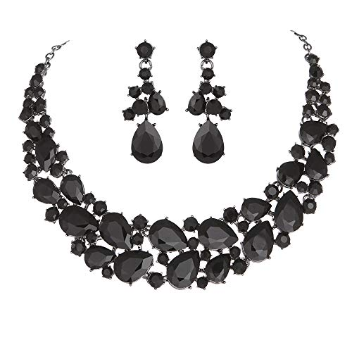 Youfir Austrian Rhinestone Teardrops Necklace and Earrings Jewelry Sets for Women Wedding Party Dress (Black-Black Tone) Black Rhinestone Jewelry Set