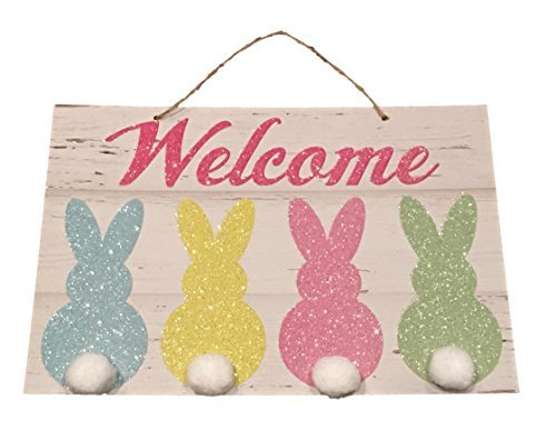 Easter Sign Welcome Glitter Peeps and Cotton ball Tails ()