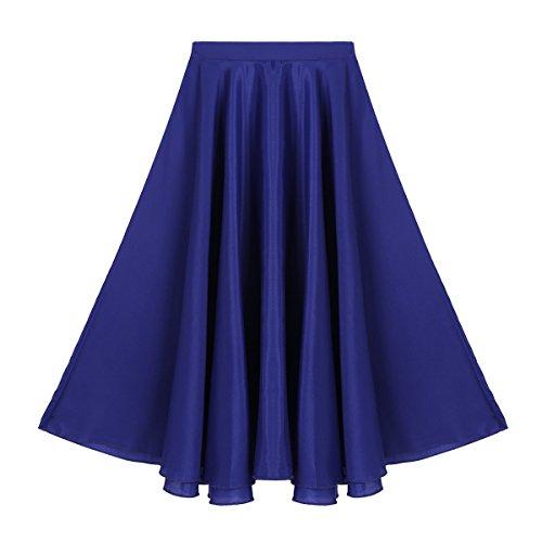 (Agoky Kids Girls Vintage Summer Daily Full Circle Long Skirt Liturgical Praise Spirit Dance Wear Dark Blue 10)